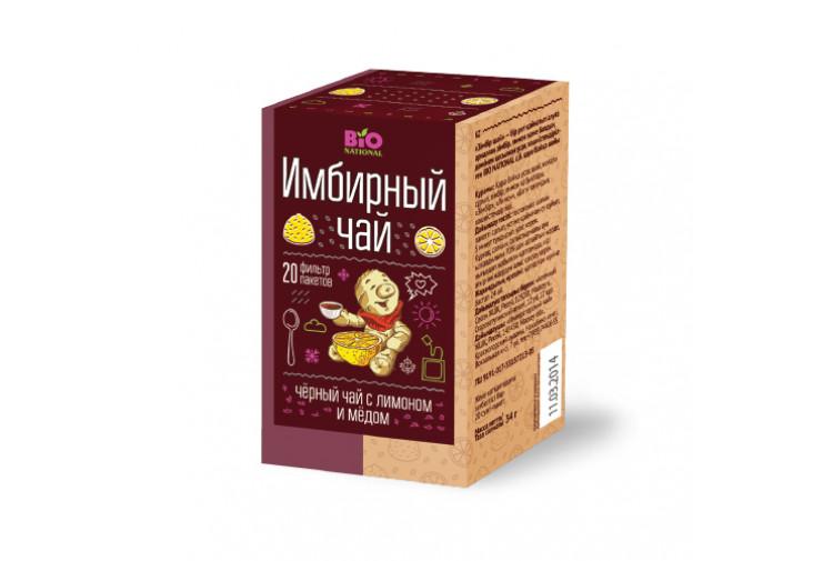 Чай имбирный чёрный с мёдом и лимоном Bio National